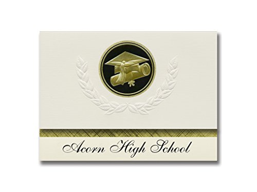 Signature Announcements Acorn High School (Mena, AR) Graduation Announcements, Presidential style, Elite package of 25 Cap & Diploma Seal. Black & Gold. ()