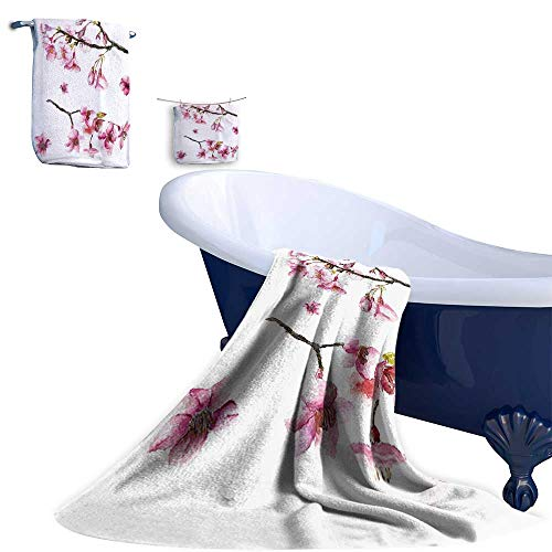 Home 3 Piece Bath Towel Set,Cherry Blossom Sakura Branch Spring Fruit Tree Flowers Hand Drawn Style Illustration Pink Material - 100% Microfiber,Ideal for Bathroom Office and Gym ()