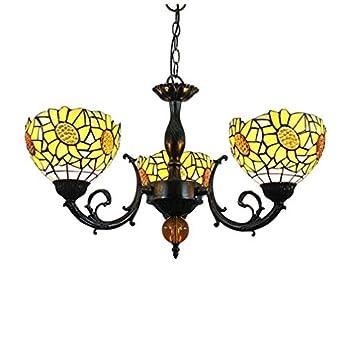 Tiffany Style Chandelier, 3-Light Decorative Restaurant Bar Lighting Fixtures, 8-Inch Stained Glass Sun Flower Pattern Shade & Metal Base Pendant Light