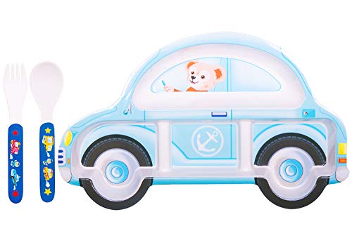 Kids Plates, Melamine Children's Flatware, Toddler Tray At Breakfast Lunch & Dinner, Play Game, Fun to Eat Better 3 Piece Dinnerware Set for Picky Eater (Blue car)