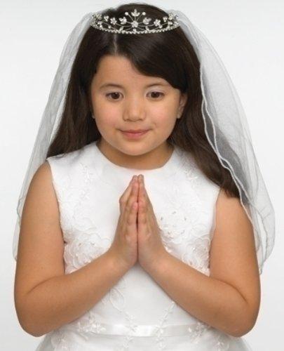 Rhinestone Encrusted Communion Tiara with 22 Inch Double Veil; Style Hannah ()