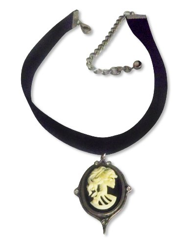 Real Metal Black Velvet Choker with Gothic Lolita Skull Cameo Ivory on Black Adjustable Size ()