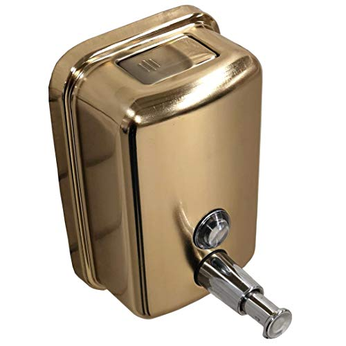 500ml. Commercial Wall Mount Soap/Lotion Dispenser with Pump/Push Button-Liquid Soap/Lotion Dispenser Brass Antique Brass/Gold Polished-Gift-Brass Bathroom Accessories (Gold Polished) (Brass Lotion Dispenser)