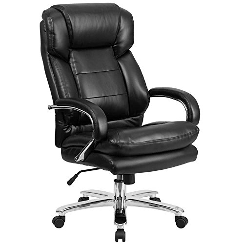 High-Back Black Leather Intensive-Use Multi-Shift Swivel Office Chair with Headrest and Loop Arms By TableTop king Back Multi Shift Chair