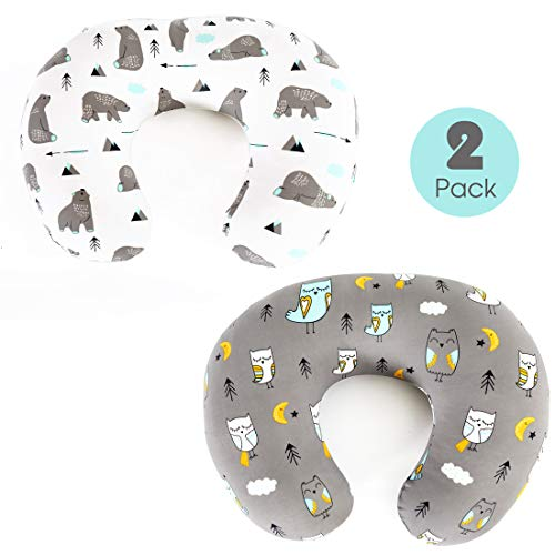 Stretchy-Nursing-Pillow-Covers-BROLEX 2 Pack Snug Fitted Nursing Pillow Slipcovers for Breastfeeding Moms,Ultra Soft Breathable for Infant Nursing Pillow,Owl & Bear