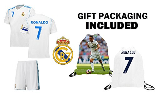 Cristiano Ronaldo Youth Jersey (Cristiano Ronaldo #7 Real Madrid Youth Kids Soccer Jersey ✓ Shorts ✓ Picture Bag ✓ ✓Premium Soccer Gift by Fan Kitbag (YM 8-10 Years, Home Short Sleeve))