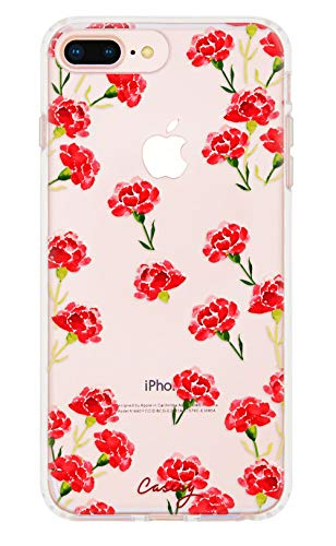 Carnation Nation (Rose Red Floral) - Casery iPhone 8 Plus, iPhone 7/6 Plus Case - Military Grade Protection - Drop Tested - Protective Slim Clear Case for Apple iPhone 8 Plus, iPhone 7/6/6s Plus