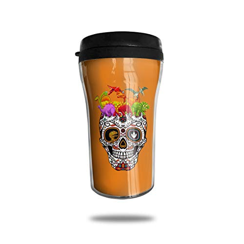 Lodve Hvst Colorful Dinosaurs Sugar Skull 8.45oz Coffee Mug Birthday Gifts Insulated Tea Cup Leakproof
