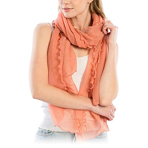 (Me Plus Women Fashion Lightweight Soft Spring Summer Long Scarf Shawl Wraps (Shimmery Ruffled - Pink))