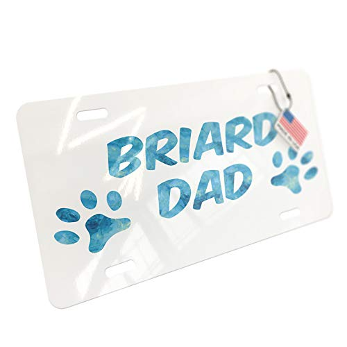 (NEONBLOND Dog & Cat Dad Briard Aluminum License Plate)