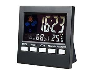 Higrómetro Digital, de habitación luftü berwachtung Temperatura y Humedad Medidor higrómetro, termómetro para dormitorio, oficina, salón, etc, negro