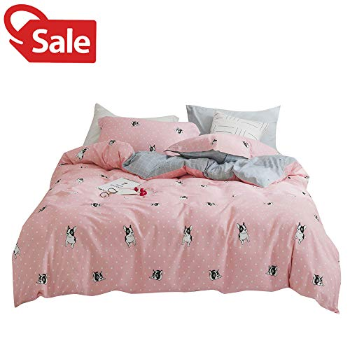 BoxHome Girls Pink Cotton Full Duvet Cover Polka Dots Puppy Dog Pet Teen Queen Bedding Sets 3 Pieces Reversible Plaid Grid Bedding Collections Grey for Kids Children Adults