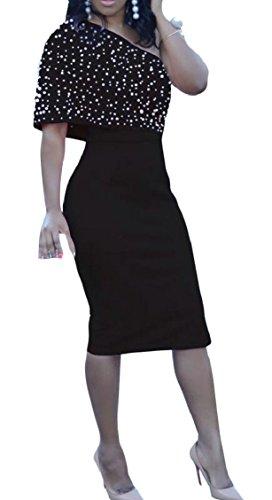 Jaycargogo Femmes Une Épaule Perles Volants Robe De Soirée Club Noir Moulante