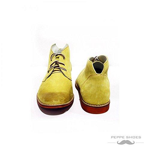 PeppeShoes Modello Pisa - Handmade Italiano da Uomo in Pelle Giallo Chukka Boots - Vacchetta Scamosciato - Allacciare Confiable En Línea BBFisbo9Vc
