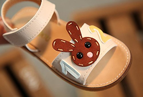 Prevently Mädchen Sandalen Kinder Mädchen Nummer Kaninchen Cartoon Joker Sandalen Prinzessin Schuhe Anzahl Rutschfeste Prinzessin Sandalen Freizeitschuhe Weiß