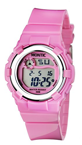 Price comparison product image Montic Kids Digital Sports Watch (Pink) - Multi-Function 32M Waterproof Hand watch – With Date, Alarm, Calendar & Stopwatch - Soft Hypoallergenic Silicone Strap - Ideal Gift for Young Girls