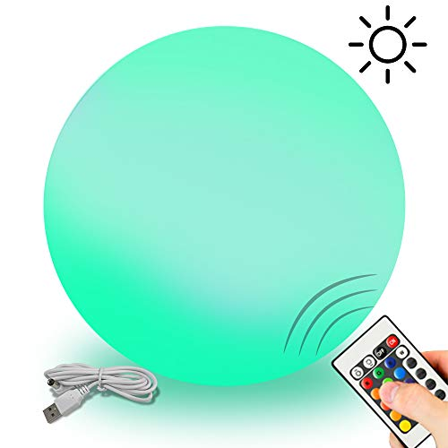 - GoZheec Garden Solar Light 12'' Led Ball Light IP65 Waterproof 16 RGB Colour Ball Lamp with Remote for Pool/Outdoor/Garden/Party