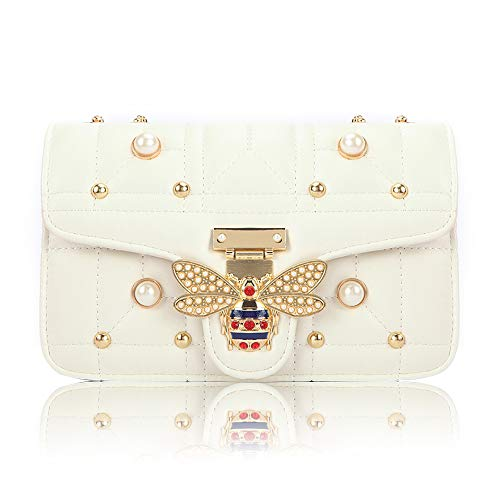 Beatfull Bee Shoulder Bag for Women, Elegant Handbag Crossbody Bag with Pearl (white) ()