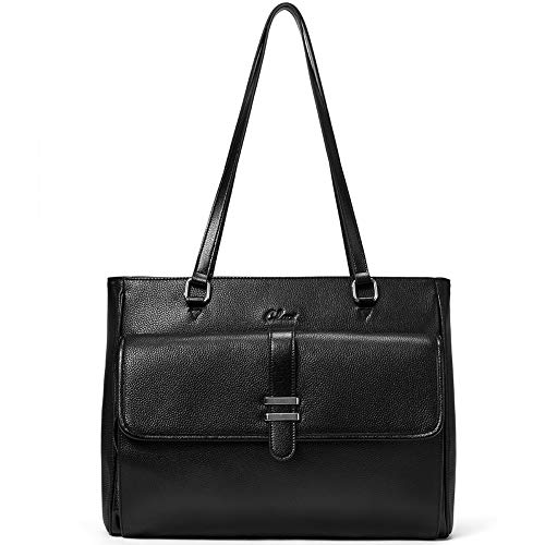 Genuine Leather Laptop Tote Bags for Women Large Briefcase Work Ladies Handbag Fits Up to 15.6 Inch Black
