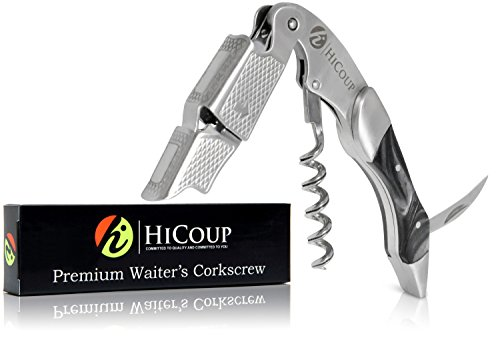 Waiters Corkscrew by HiCoup - Professional Stainless Steel with Ying Yang Resin Inlay All-in-one Corkscrew, Bottle Opener and Foil Cutter, The Favoured Wine Opener of Sommeliers and Bartenders