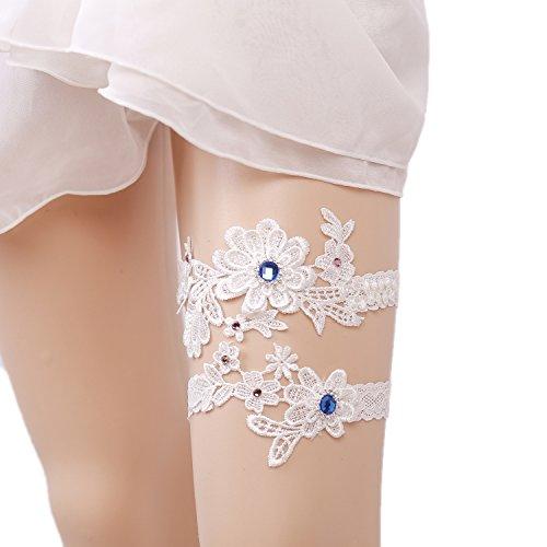 Wood Bury WoodBury Wedding Garter Belt Set Throw Away and Keep One with Blue Pink Beaded White
