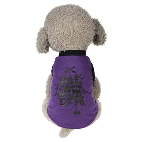Iuhan  Pet Clothes Halloween Cosplay Costume Puppy Shirts Ghost Skull Web Print Clothes Cotton Outfit Apparel Coats Tops (XS, Purple) ()