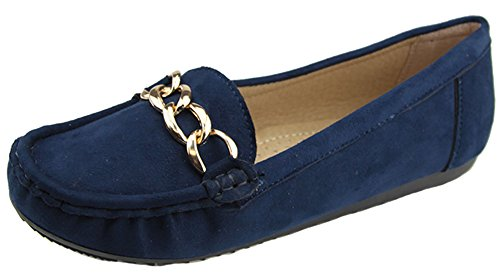 Bella Marie Women Sueded Slip On Moccasin Loafer Navy