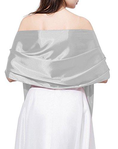 Silk Cocktail Evening Dress (Baiweite Satin Shawl Wrap Wrap For Evening/Wedding Party (Silver))