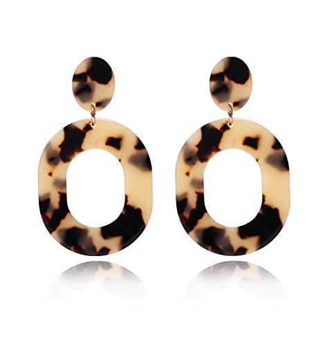 Acrylic Earrings For Women Girls Statement Geometric Earrings Resin Acetate Drop Dangle Earrings Mottled Hoop Earrings Fashion Jewelry (Light ()