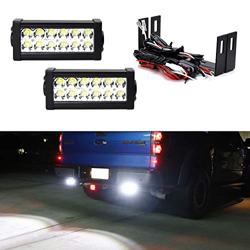 (iJDMTOY Rear Bumper Mount Searchlight Reverse LED Light Bar Kit For 2009-14 Ford F150 & 2010-14 Raptor, (2) 36W High Power LED Lightbars, Bumper Frame Mounting Brackets & On-Off Switch Wiring)