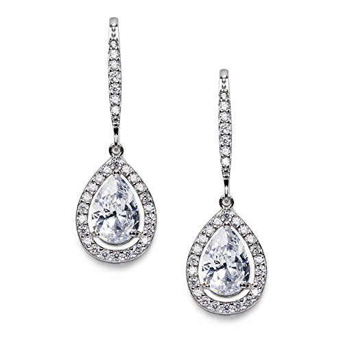 SWEETV Teardrop Wedding Earrings for Brides, Bridesmaids, Cubic Zirconia Dangle Earrings for Prom, Party, Formal Occasion