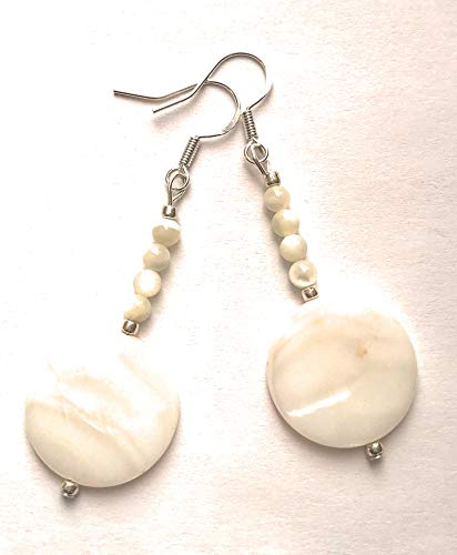(White Shell Mother of Pearl Silver Dangle Beaded Earrings)