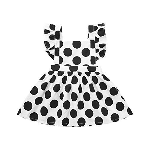Waymine Baby Girls Fly Sleeve Black White Polka Dot Overall Skirt Dress 6M-3T
