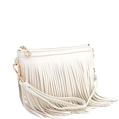 Front and Back Both Side Fringed Soft PU Leather Medium Long Cross Body Messenger Shoulder Bag (SMALL-OFF WHITE) ()