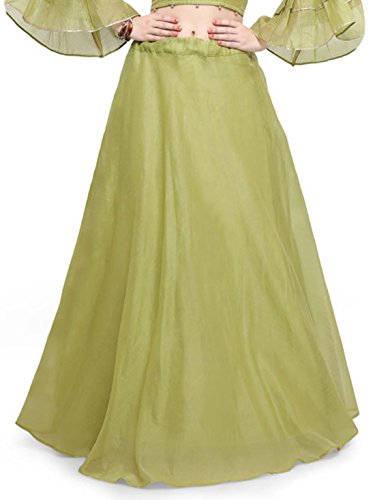 Indian Handicrfats Export Inddus Women Green Solid Flared Maxi Skirt