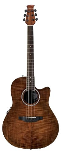 Acoustic Vintage Guitar Body - Ovation Applause 6 String Acoustic Electric Guitar, Right, Vintage Flame, Mid Depth Body (AB24IIP-VF)