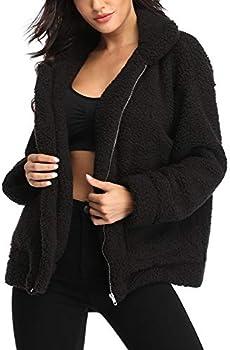 EZIGO Womens Fuzzy Fleece Sherpa Coat