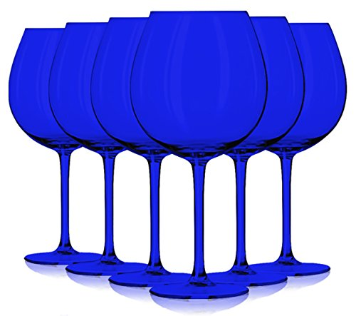 Libbey Cobalt Blue Jumbo Wine Glasses 24 oz. set of 6 - Additional Vibrant Colors Available by TableTop King