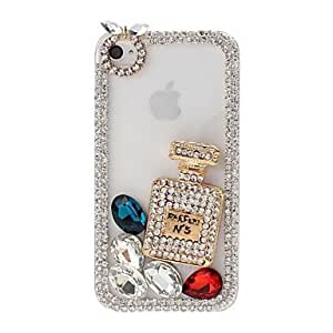 DIY Chain Frame with Rhinestone and Irregular Diamond Pattern Plastic Hard Case for iPhone 4/4S