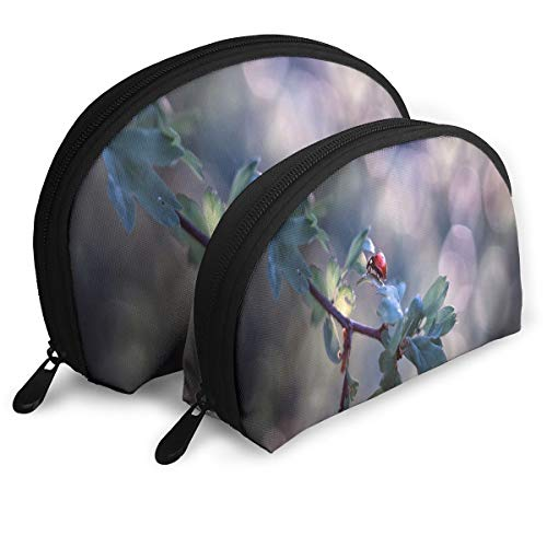 Makeup Bag Cute Ladybug Raindrop Portable Shell Clutch Pouch For Women Halloween Gift 2 Pack