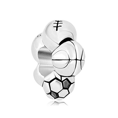 Third Time Charm Sport Ball Charm Football Basketball Baseball Rugby Combination Beads