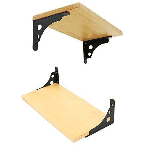Shelf Curtain Rod - Alise 4mm-Thicker Heavy Duty Shelf Bracket Corner Brace Support Brackets Fastener 6-Inch Wall Hanging,J5206B-2P Stainless Steel Matte Black 1 Pair