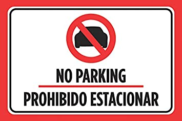 Amazon.com: No Parking prohibido estacionar, color negro y ...