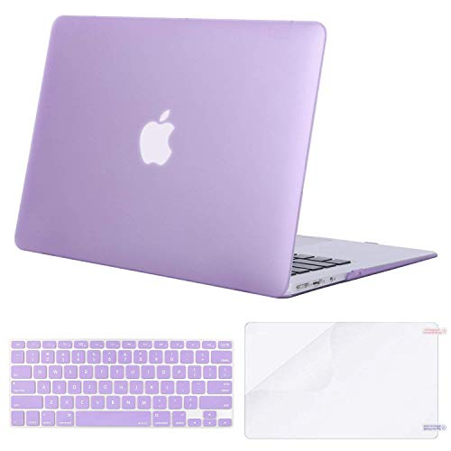 MOSISO Plastic Hard Case & Keyboard Cover & Screen Protector Only Compatible MacBook Air 13 Inch (Models: A1369 & A1466, Older Version 2010-2017 Release), Light Purple