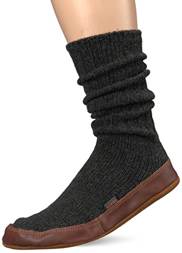 Acorn Unisex Sock Slipper, Charcoal Ragg Wool, Large(11-12 Women's/9-10 Men's) B US - Mens Slipper Sock