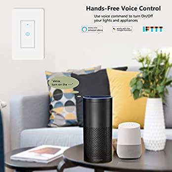 Smart Light Switch&Alexa Smart Switch&WiFi Light Switch with Timer and Remote Control,Compatible with Alexa, Google Home and IFTTT, No Hub Required