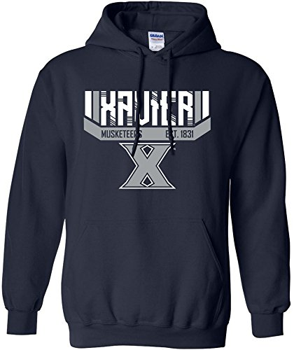 NCAA Xavier Musketeers Adult Unisex NCAA Bars & Stripes Hooded Sweatshirt,XL,Navy