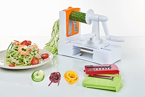 PengDa Spiralizer Vegetable Slicer, 3-Blade, Strongest-and-Heaviest Duty Vegetable Spiral Slicer, Best Veggie Pasta & Spaghetti Maker for Low Carb/Paleo/Gluten-Free Meals
