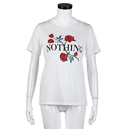 OverDose Womens Nothing Rose Impresión Summer Loose Tops Blusa de manga corta Blanco
