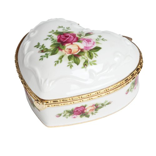 Royal Albert Old Country Roses Heart 4-Inch Jewelry Box If You Love Me Porcelain Heart Jewelry